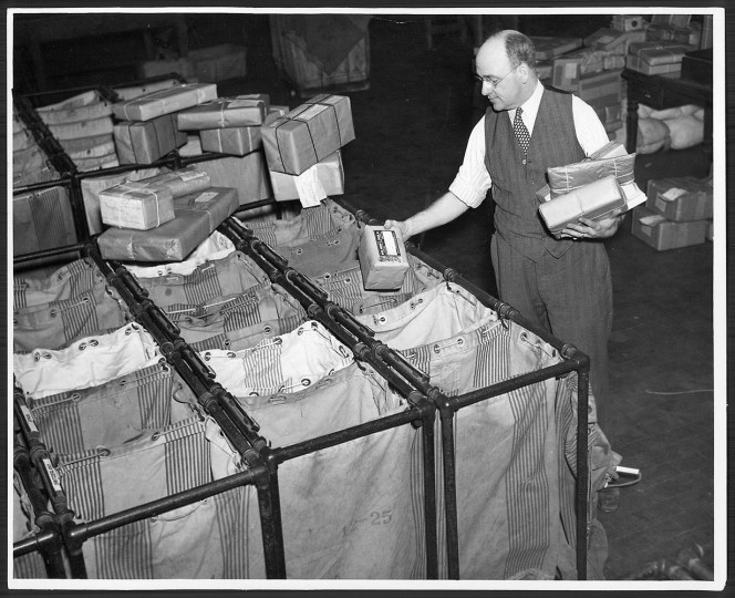 The foreign mail section, as seen on Dec. 13, 1935.