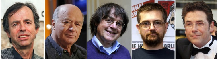 A combination of file photos made on January 7, 2015 shows (from Left) French satirical weekly Charlie Hebdo's deputy chief editor Bernard Maris and cartoonists Georges Wolinski, Jean Cabut, aka Cabu, Charb and Tignous. At least 12 people were killed, including cartoonists Charb, WolinsKi, Cabu and Tignous and deputy chief editor Bernard Maris when gunmen armed with Kalashnikovs and a rocket-launcher opened fire in the Paris offices of French satirical weekly Charlie Hebdo on January 7, 2015. (Guillaume Baptist/ Bertrand Guay / Francois Guillot /Getty Images)