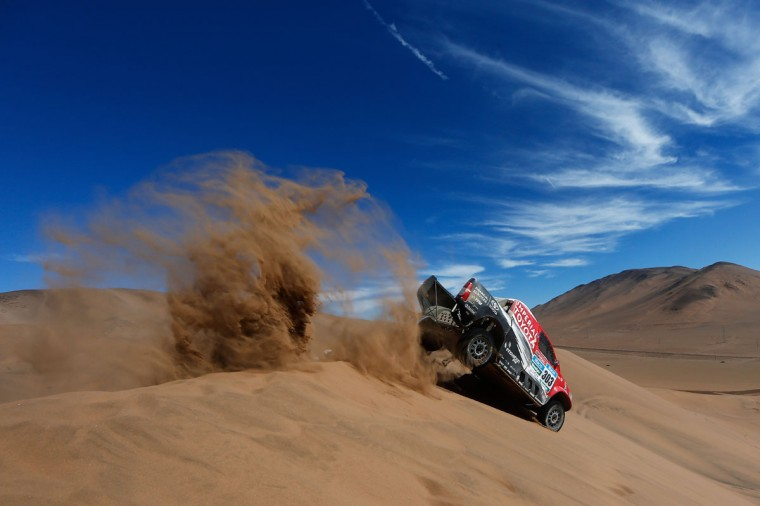 #303 Giniel De Villiers of South Africa and Dirk Von Zitzewitz of Germany for Toyota Imperial Team South Africa in the Pick Up Hilux compete during day 4 of the Dakar Rally on January 7, 2015 between Chilecito in Argentina to Copiapo, Chile. (Photo by Dean Mouhtaropoulos/Getty Images)