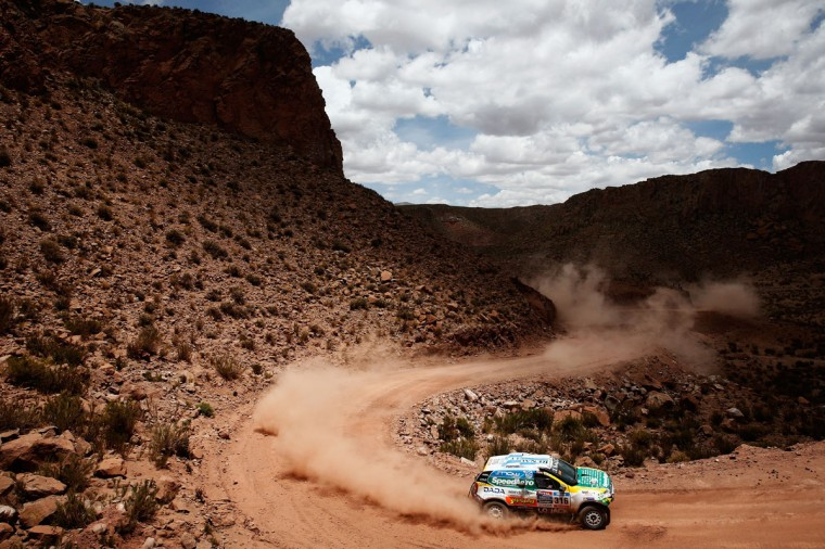 #316 Emiliano Spataro and Benjamin Lozada of Argentina for the Renault Duster team compete near the Salinas Grandes during Stage 10 on day 11 of the Dakar Rally between Calama and Cachi on January 14, 2015 near San Salvador de Jujuy, Argentina. (Photo by Dean Mouhtaropoulos/Getty Images)