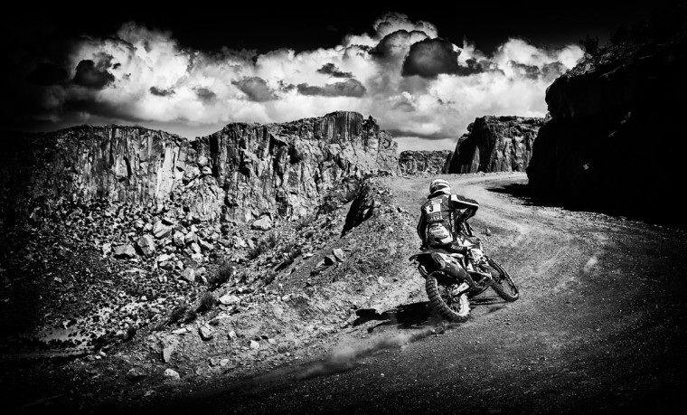 #3 Olivier Pain of France riding for Yamaha Factory Racing team Yamalub WR450F competes near the Salinas Grandes during Stage 10 on day 11 of the Dakar Rally between Calama and Cachi on January 13, 2015 near San Salvador de Jujuy, Argentina. (Photo by Dean Mouhtaropoulos/Getty Images)
