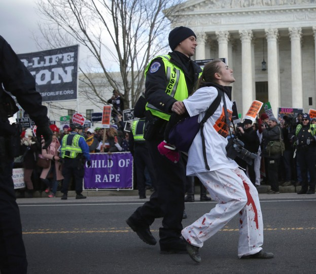 U.S. Capitol Police arrest a pro-choice activist after she blocked the street and temporarily stopped the annual March for Life in front of the U.S. Supreme Court January 22, 2015 in Washington, DC. (Photo by Alex Wong/Getty Images)