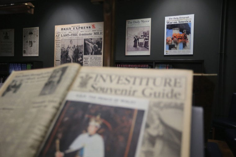 Historic front pages are on display in the reading room at the new National Newspaper Building on January 23, 2015 in Boston Spa, United Kingdom. The British Librarys brand new National Newspaper Building officially opened today. The newly built storage void holds 60 million newspapers and periodicals spanning more than three centuries. The temperature and humidity controlled store is operated by robot cranes and can retrieve newspapers from any time and date. The British Library spent six months moving the archive from its previous home in Colindale, north London. (Photo by Christopher Furlong/Getty Images)