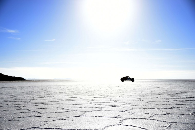 A car competes during the Stage 8 of the Dakar 2015 between Uyuni, in Bolivia, and Iquique, in Chile, on January 11, 2015. Uyuni, the world's largest salt flat, is located in Bolivia near the crest of the Andes, some 3,650 meters above sea level. (Frank Fife/AFP/Getty Images)