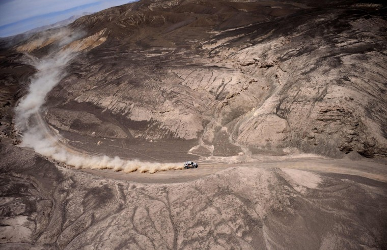 Mini's driver Nani Joan Roma of Spain and co-driver Michel Perin of France compete during the Stage 9 of the Dakar 2015 between Iquique and Calama, Chile, on January 13, 2015. (Frank Fife/AFP/Getty Images)