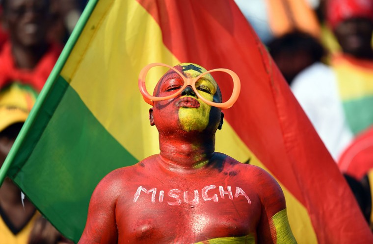 A Ghanaian fan poses before the start of the 2015 African Cup of Nations group C football match between Ghana and Algeria in Mongomo on January 23, 2015. (AFP Photo/Carl De Souza)
