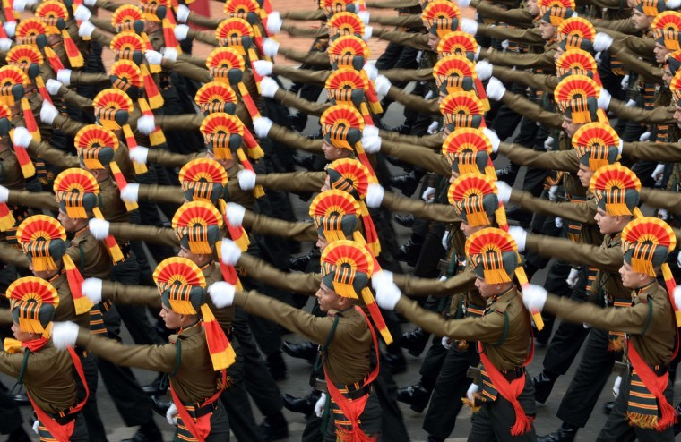 Indian Army soldiers march in formation down Rajpath during the full Republic Day Dress rehearsal in New Delhi on January 23, 2015. India celebrates Republic Day on January 26 with US President Barack Obama, accompanied by his wife Michelle Obama, as chief guest. AFP Photo/Prakash Singh)