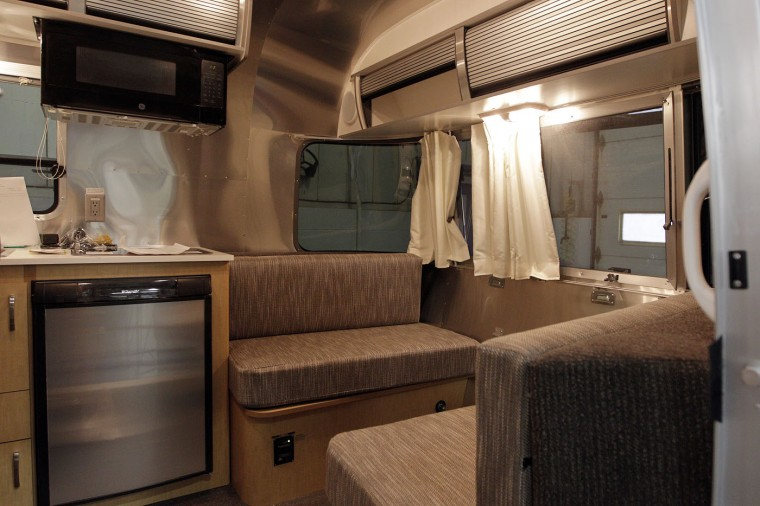 The sitting area of an Airstream travel trailer at the Airstream factory Wednesday, Oct. 22, 2014, in Jackson Center, Ohio. (AP Photo/Jay LaPrete)