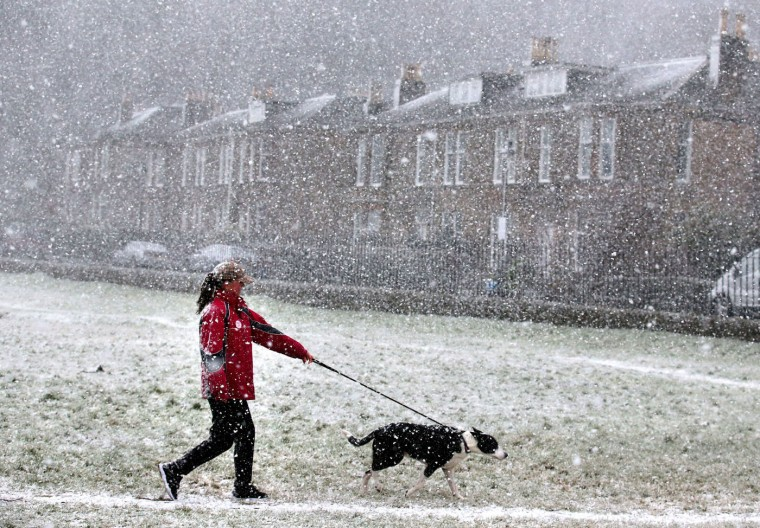 A dog walker walks through the Kings Knot area below Stirling Castle, Scotland, Wednesday, Jan. 28, 2015, during a snow blizzard, as a cold weather front is set to sweep in with temperatures expected to drop as much as 10C (18 degrees Fahrenheit) to below zero into Thursday. (AP Photo/PA, Andrew Milligan)