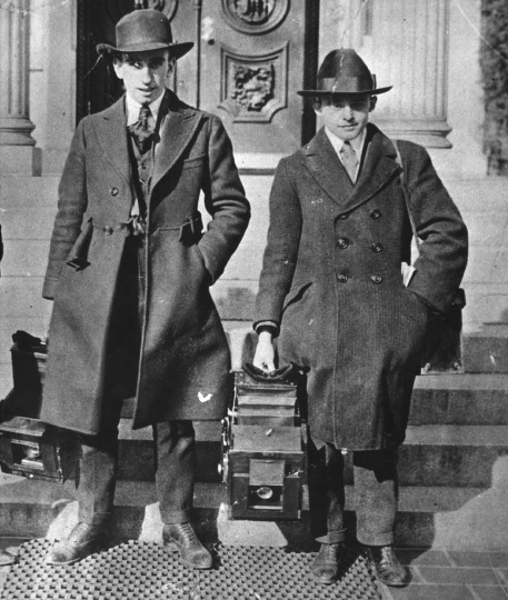 Baltimore Sun Photographers, Frank A. Miller and Leroy B. Merriken at Annapolis State House after they photographed at first Inauguration of Gov. Ritchie, 1920.