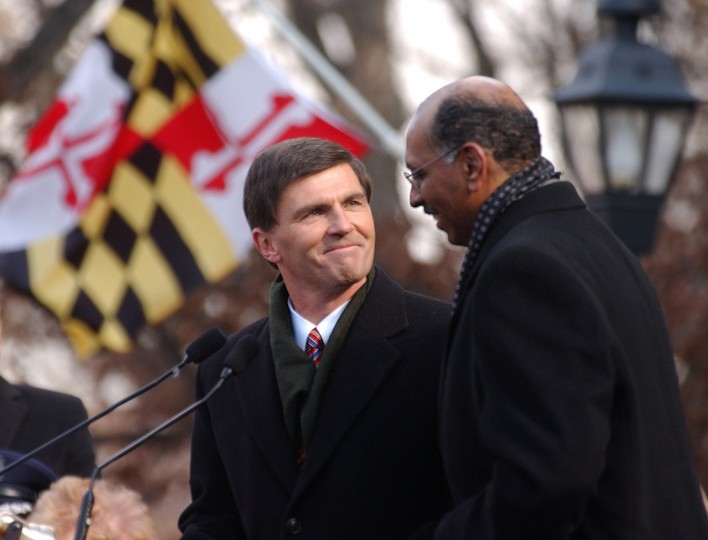Governor Robert Ehrlich introduces his friend and Lt. Governor Michael Steele during the inauguration ceremony on the steps of the State House in 2003. (John Makely, Baltimore Sun file photo)