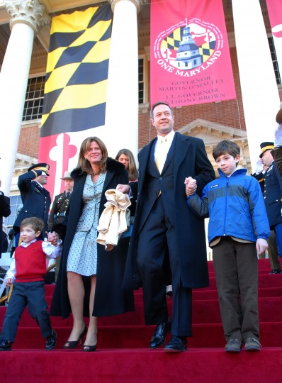 "Jack, Catherine ""Katie"" Curran, Martin, William O'Malley walk down to the stage of inauguration ceremony in 20007. (Chikai Kawajiri, Baltimore Sun file photo)"