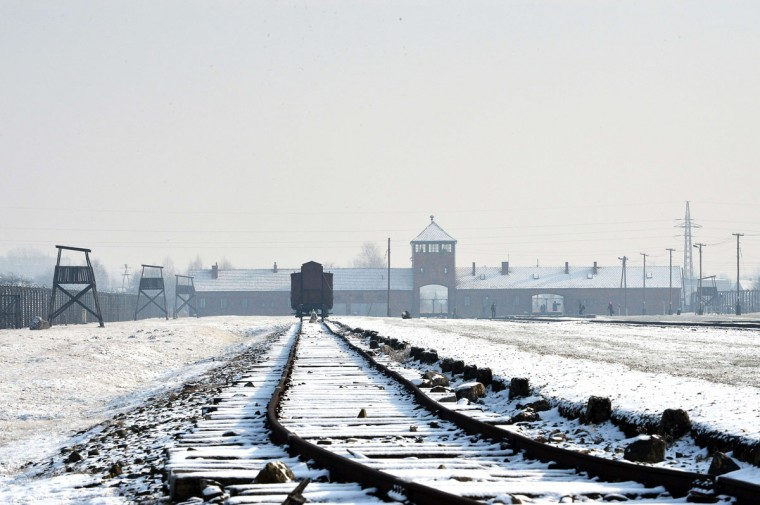 A file picture taken on January 27, 2014 shows the railway tracks at the former Nazi concentration camp Auschwitz-Birkenau in Oswiecim, Poland, on Holocaust Day. (JANEK SKARZYNSKI/AFP/Getty Images)