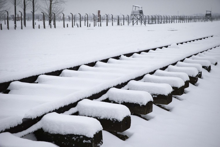 A former rail track is covered with snow at the memorial site of the former Nazi concentration camp Auschwitz-Birkenau in Oswiecim, Poland on January 25, 2015, days before the 70th anniversary of the liberation of the camp by Russian forces.(JOEL SAGET/AFP/Getty Images)