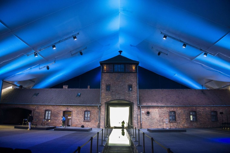 A giant tent is seen erected around the railroad entrance to the former Auschwitz-Birkenau concentration camp on the eve of the 70th anniversary of the liberation of the Nazi death camp in Oswiecim, Poland on January 26, 2015. (ODD ANDERSEN/AFP/Getty Images)