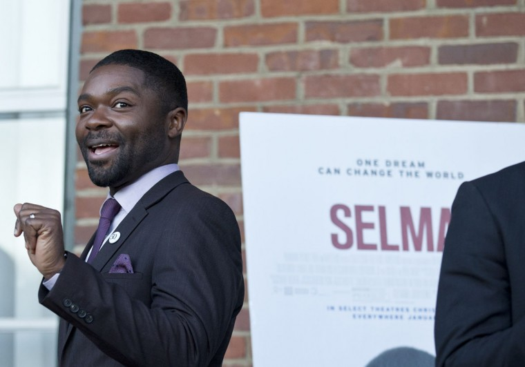 """David Oyelowo, who portrays Martin Luther King Jr. in the movie """"Selma"""" just before he marches to the Edmund Pettus Bridge in honor of Martin Luther King Jr., Sunday, Jan. 18, 2015, in Selma, Ala. (AP Photo/Brynn Anderson)"""