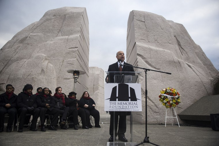 U.S. Secretary of Homeland Security Jeh Johnson speaks during a wreath laying ceremony at the Martin Luther King Jr. Memorial on the National Mall on January 19, 2015 in Washington, D.C. Martin Luther King day was marked by many celebrations across the country. (Photo by Gabriella Demczuk/Getty Images)