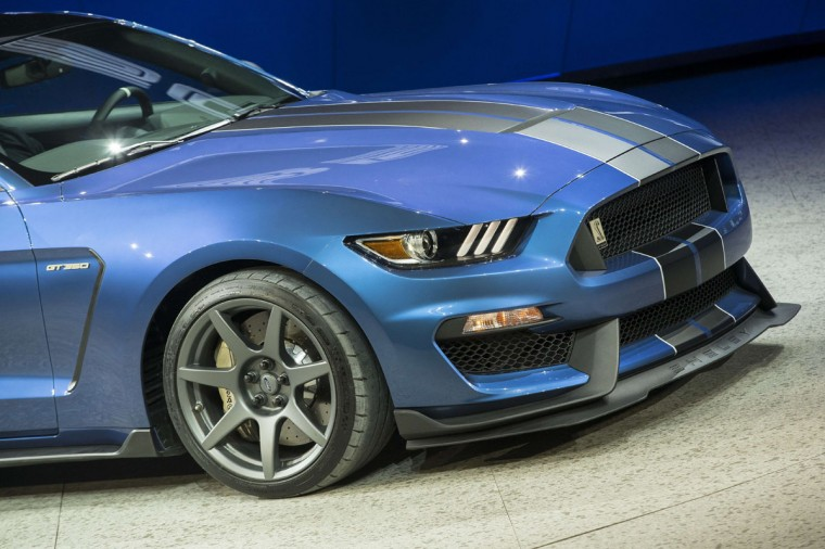 Ford unveils the new GT350 during a press conference at the 2015 North American International Auto Show in Detroit, Michigan, January 12, 2015. (GEOFF ROBINS/AFP/Getty Images)