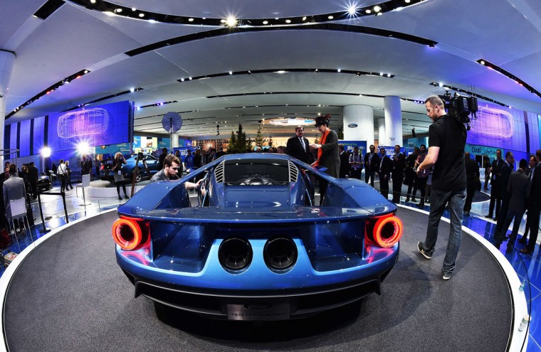 The new Ford GT is pictured at The North American International Auto Show in Detroit, Michigan, on January 12, 2015. (JEWEL SAMAD/AFP/Getty Images)