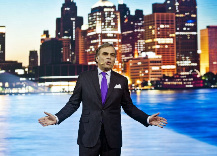 Ludwig Willisch, President of BMW North America, speaks at the North American International Auto Show, Monday, Jan. 12, 2015, in Detroit. (AP Photo/Tony Ding)