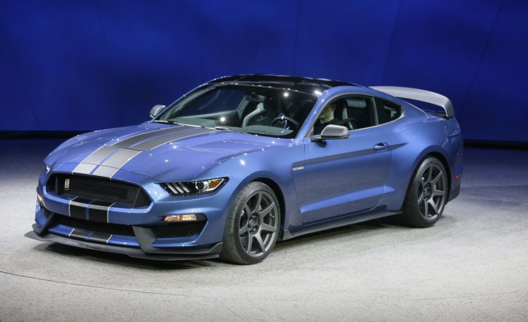 The Mustang GT 350R is unveiled during the North American International Auto Show, Monday, Jan. 12, 2015 in Detroit. (AP Photo/Carlos Osorio)