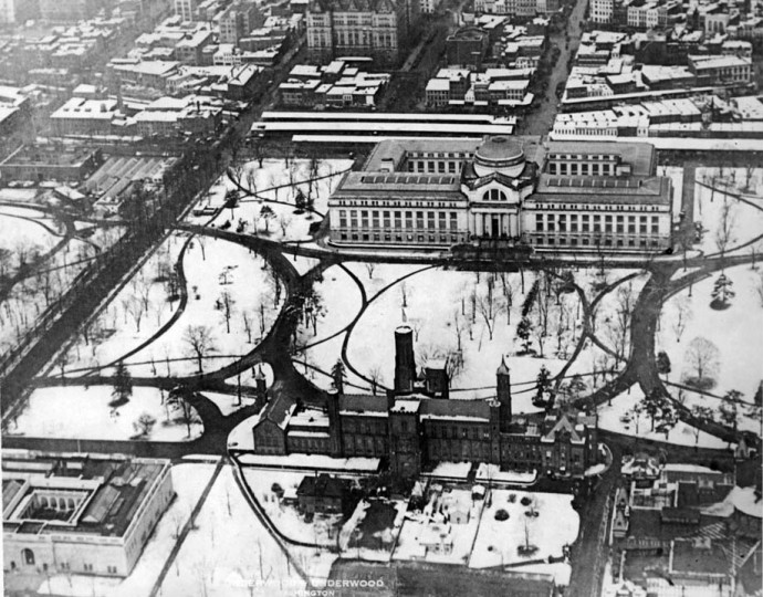 Feb. 1, 1928: The Smithsonian Institute in winter from the air.
