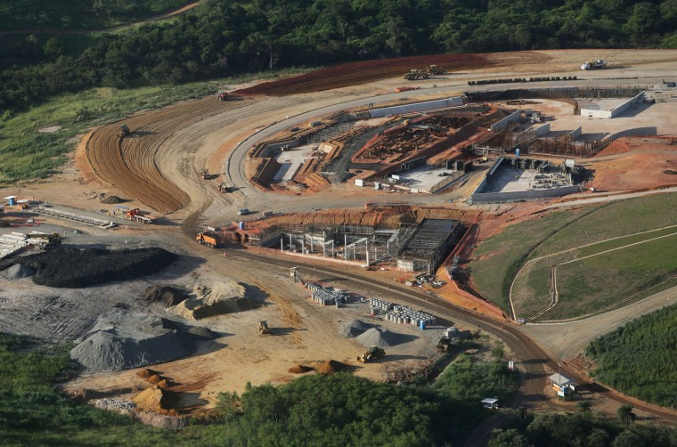Work continues on the Deodoro Olympic Park, the second largest cluster of Rio 2016 Olympic Games venues, on February 24, 2015 in Rio de Janeiro, Brazil. The city of Rio continues to prepare to host the upcoming Olympic Games which kickoff on August 5, 2016. (Photo by Mario Tama/Getty Images)