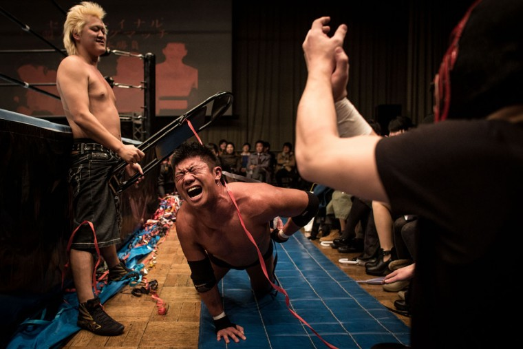 Student wrestlers fight during the Student Pro-Wrestling Summit on February 26, 2015 in Tokyo, Japan. (Photo by Chris McGrath/Getty Images)