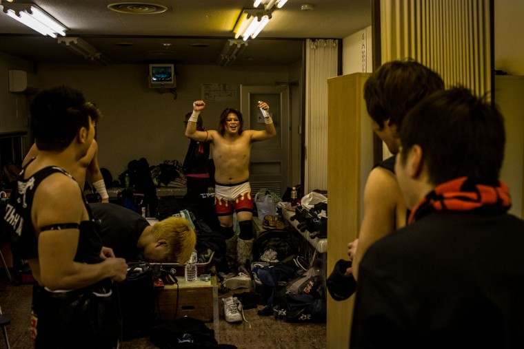 Student wrestlers talking in the dressing room after a fight during the Student Pro-Wrestling Summit on February 26, 2015 in Tokyo, Japan. (Photo by Chris McGrath/Getty Images)