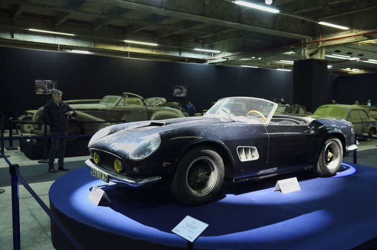 A picture taken on February 3, 2015 shows a Ferrari 250 GT SWB California spider from the Baillon collection, which belonged to French actor Alain Delon, at the Retromobile Car Show 2015 in Paris. The car is expected to be auctioned off for between 9.5 and 12 million euros. (Eric Feferberg/AFP/Getty Images)