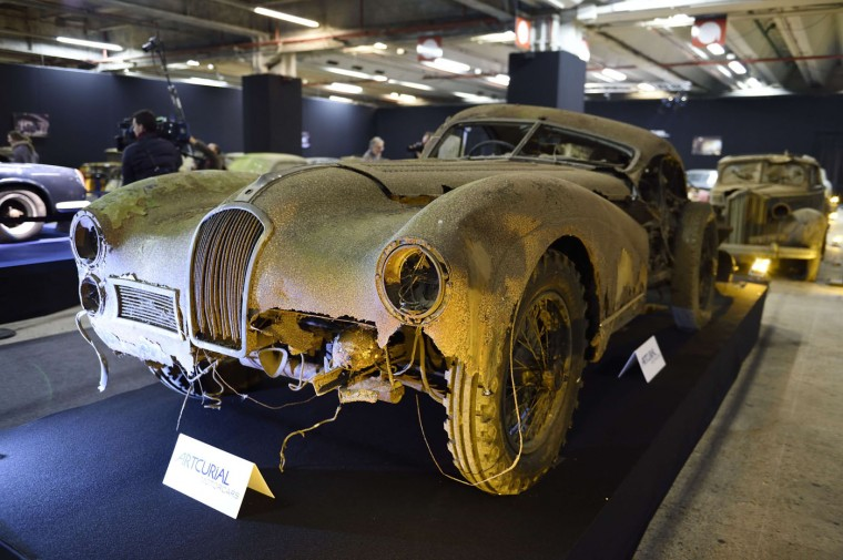 A picture taken on February 3, 2015 shows a Talbot Lago T26 Grand Sport SWB Saoutchik from the Baillon collection at the Retromobile Car Show 2015 in Paris. The car, which is estimated between 400.000 euros and 600.000 euros, will be auctioned. (Eric Feferberg/AFP/Getty Images)