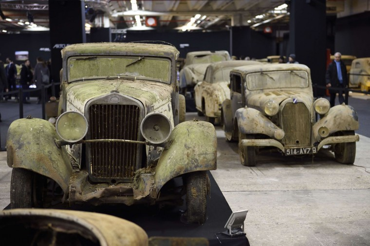 A picture taken on February 3, 2015 shows A Delage D8 - 15S Coach Aotobineau from the Baillon collection at the Retromobile Car Show 2015 in Paris. The car, which is estimated between 30.000 and 50.000 euros, will be auctioned. (Eric Feferberg/AFP/Getty Images)