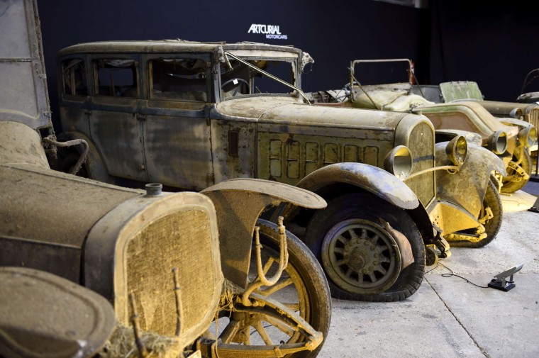 A picture taken on February 3, 2015 shows a Delaunay Belleville Type VL 8 Limousinefrom the Baillon collection at the Retromobile Car Show 2015 in Paris. The car, which is estimated between 4000 and 6000 euros, will be auctioned. (Eric Feferberg/AFP/Getty Images)