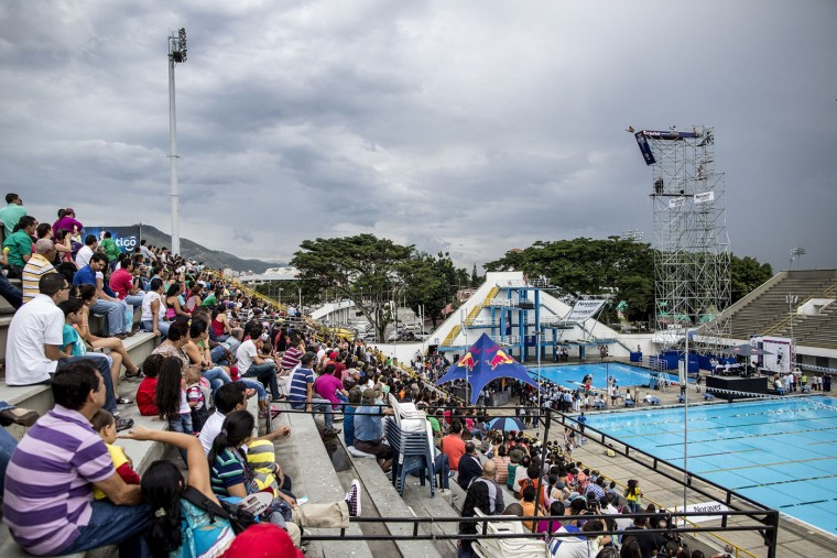 This handout photo received from Red Bull and taken on February 7, 2015 shows Jucelino Junior of Brazil diving from the 27 metre platform during the final rounds of the Red Bull Cliff Diving World Series qualification competition at Piscinas Panamericanas, Cali, Colombia. Five divers, Jonathan Paredes of Mexico, Jucelino Junior of Brazil, Andy Jones of the USA, Blake Aldridge of the UK and Michal Navratil of the Czech Republic qualified and will join the five pre-qualified divers from last year in the 2015 season. Dean Treml/AFP/Red Bull/Getty Images
