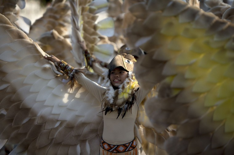 A student wearing a bird costume dances during the annual Caracol Festival in Manila on February 22, 2015. Participants of the Caracol Festival dress in different costumes of wildlife and endangered species to express the need to preserve Manila's environment and cultural heritage. (Noel Celis/AFP/Getty Images)
