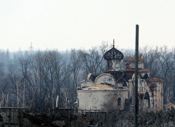 This photo shows a destroyed church near the airport in the eastern Ukrainian city of Donetsk, on February 26, 2015. Ukraine's military said Thursday it was starting the withdrawal of heavy weapons from the frontline with pro-Russian rebels, a key step in a stuttering peace plan. The start of the withdrawal by Kiev comes after a shaky truce that was meant to come into force February 15 finally took hold across the Ukraine conflict zone in recent days. (Vasily Maximov/AFP/Getty Images)