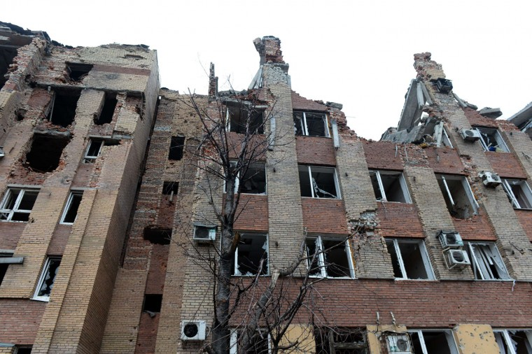 This photo shows a destroyed airport administrative building in the eastern Ukrainian city of Donetsk, on February 26, 2015. Ukraine's military said Thursday it was starting the withdrawal of heavy weapons from the frontline with pro-Russian rebels, a key step in a stuttering peace plan. The start of the withdrawal by Kiev comes after a shaky truce that was meant to come into force February 15 finally took hold across the Ukraine conflict zone in recent days. (Vasily Maximov/AFP/Getty Images)
