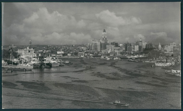 View from Sugar Refinery Locust Point. A. Aubrey Bodine photo.