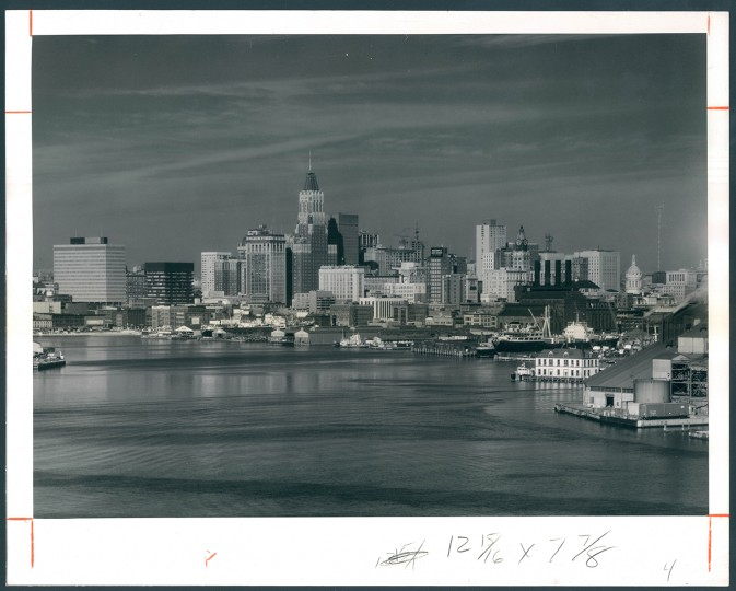 Dec. 31, 1967: The city, viewed across the inner harbor, from atop the American Sugar Refinery. A. Aubrey Bodine photo.