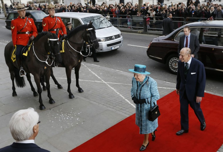 Britain's Queen Elizabeth II and Prince Philip, the Duke of Edinburgh arrive to officially reopen Canada House following an extensive programme of restoration and refurbishment, on Trafalgar Square in London, Thursday, Feb. 19, 2015. Canada House is the official home to the Canadian High Commission in the United Kingdom. The building was first opened in 1925 by King George V. (Kirsty Wigglesworth/AP Photo/Pool)