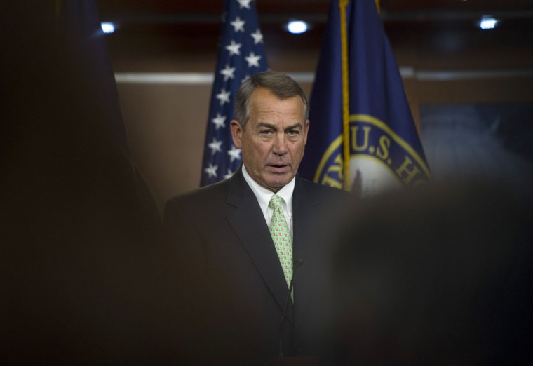 House Speaker John Boehner of Ohio speaks during a news conference on Capitol Hill in Washington, Thursday, Feb. 12, 2015. Boehner refused to rule out a potential shutdown at the Department of Homeland Security because of a congressional impasse over funding. (Molly Riley/AP)