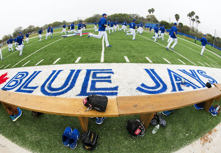 Toronto Blue Jays players warm up during baseball spring training in Dunedin, Fla., Wednesday, Feb. 25, 2015. (AP Photo/the Canadian Press, Nathan Denette)