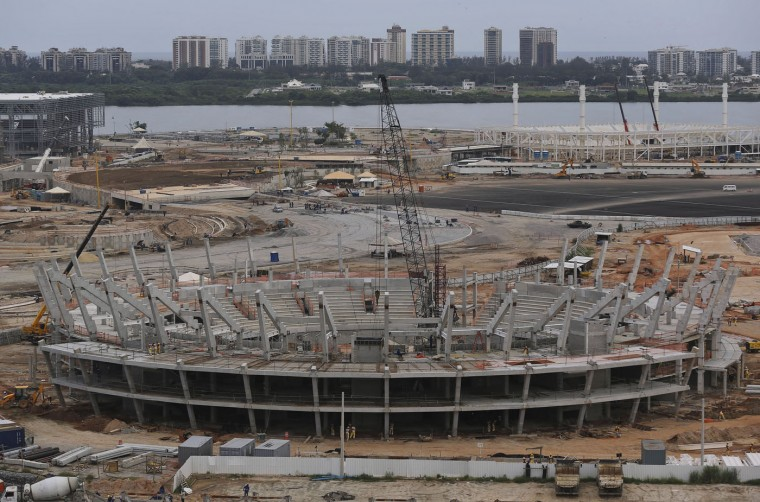 A general view of the Olympic Park which will host competitions during Rio's 2016 Olympics under construction in Rio de Janeiro, Brazil, Thursday, Feb 19, 2015. (AP Photo/Leo Correa)