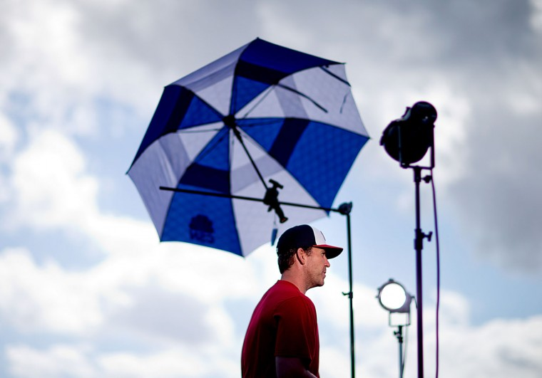 Washington Nationals pitcher Casey Janssen sits for a television interview during a spring training baseball workout, Sunday, Feb. 22, 2015, in Viera, Fla. (AP Photo/David Goldman)