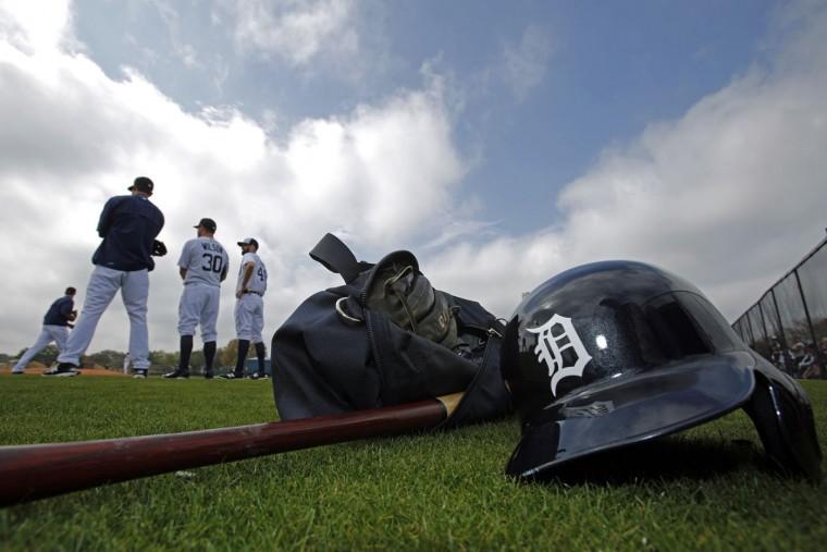 The Detroit Tigers hold a spring training baseball workout in Lakeland, Fla., Tuesday, Feb. 24, 2015. (AP Photo/Gene J. Puskar)