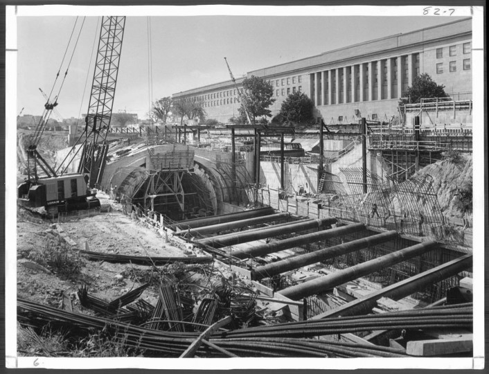 January 19, 1975: The Pentagon City station, part of 8 miles of elevated tracks.