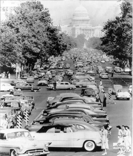 July 2, 1955: Homeward-bound workers, without city bus and trolley service because of a transit strike, jam Pennsylvania Avenye with cars. (AP)