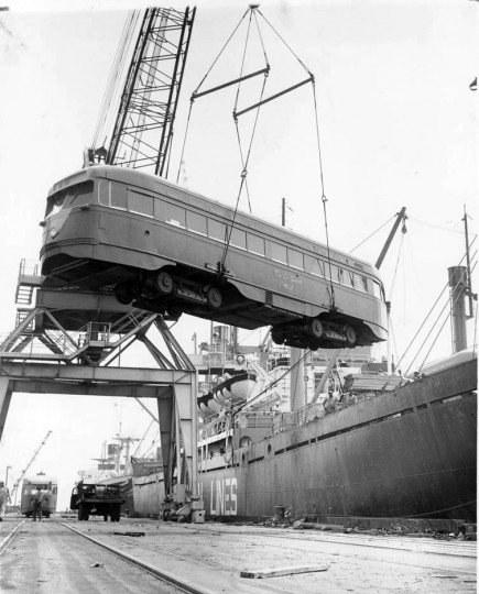 July 2, 1963: Eight street cars formerly used in the Washington transit system were loaded aboard a ship to send to Spain. (Sunpapers file photo by Ellis Malashuk)
