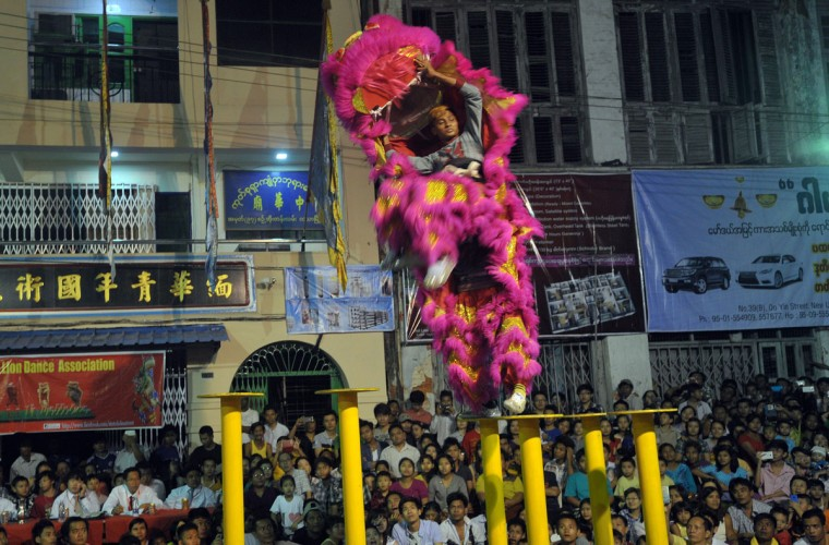 People perform the Chinese traditional lion dance during the dragon and lion dance competition marking the Chinese Lunar New Year, Year of the Sheep, in Yangon on February 20, 2015. (Soe Than WIN/AFP/Getty Images)