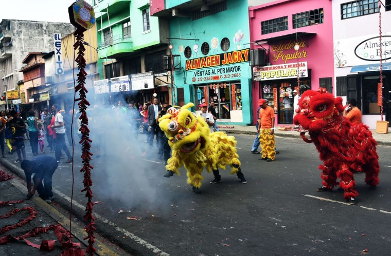 Members of the Panamanian-Chinese community celebrate the Chinese New Year in Panama City on February 19, 2015. (Rodrigo Arangua/AFP/Getty Images)